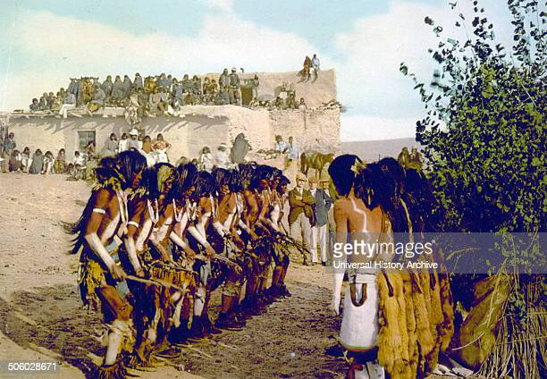 Photomechanical print of Antelope priests chanting at Kisi Moki snake dance Dated 1902 Photo by