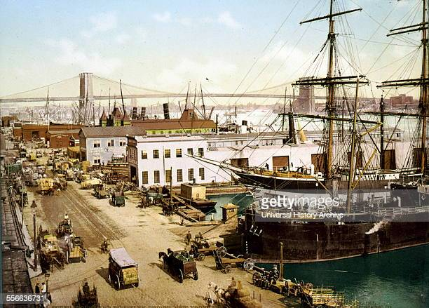 Photomechanical print of South street and the Brooklyn Bridge New York City Dated 1901