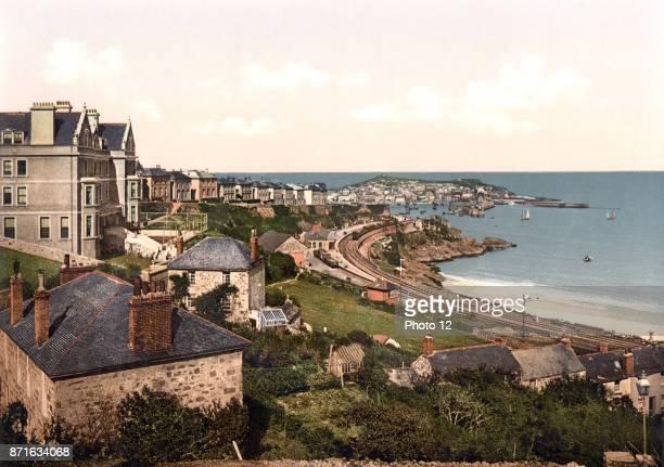 Photomechanical print of St Ives Porthminster Bay Cornwall England Dated 1892