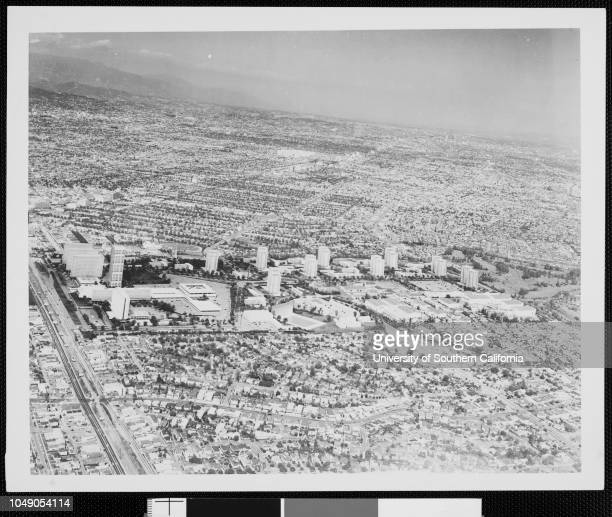 Photomontage combining an aerial view of Los Angeles and architectural model of Century City Verso dated 'January 8 1958'Los Angeles City Century...