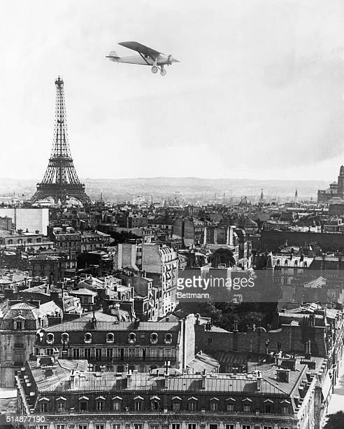 A photomontage depicts the Spirit of St Louis flown by Charles Lindbergh across the Atlantic on May 2021 in the air above Paris France Lindbergh's...