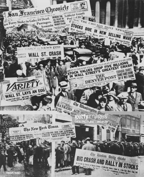 Photomontage of the front pages of American newspapers dedicated to the collapse of Wall Street, October 1929, United States of America, 20th century.