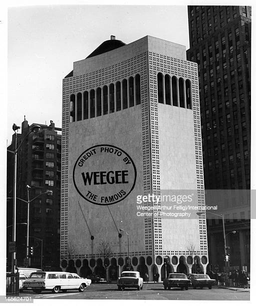 Photomontage of the Gallery of Modern Art building 2 Columbus Circle also known as the Huntington Hartford building designed by the architect Edward...