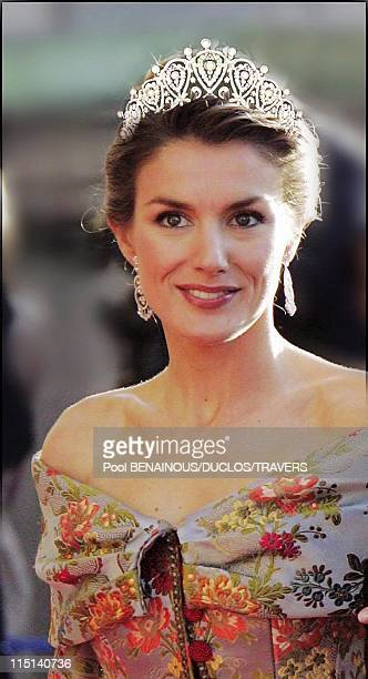 Photomontage Royal wedding in Madrid Which diadem for Letizia in Madrid Spain on May 14 2004 Diadem of diamonds and pearls offered to the Countess of...