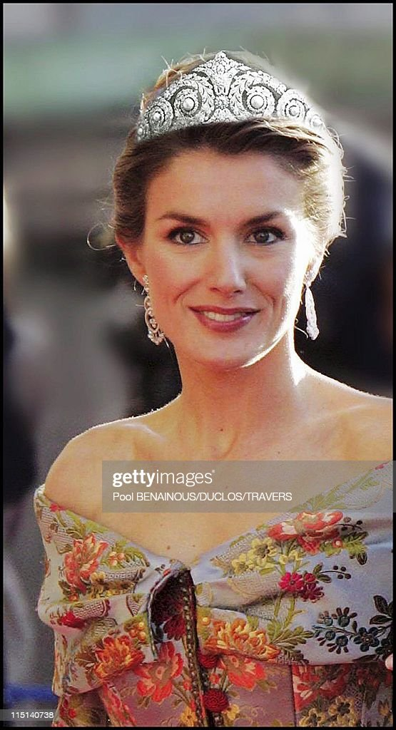 Photomontage: Royal Wedding In Madrid: Which Diadem For Letizia? In Madrid, Spain On May 14, 2004. : News Photo