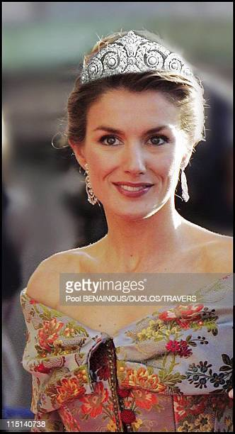 Photomontage Royal wedding in Madrid Which diadem for Letizia in Madrid Spain on May 14 2004 Diadem of pearls and diamonds by Cartier belonging to...