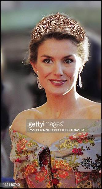Photomontage Royal wedding in Madrid Which diadem for Letizia in Madrid Spain on May 14 2004 Diadem of diamond lys flowers belonging to Queen...