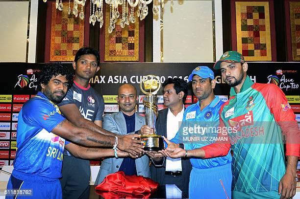 Bangladeshi cricket captain Mashrafe Bin Mortaza Indian cricketer Mahendra Singh Dhoni United Arab Emirates cricket captain Amjad Javed and Sri...