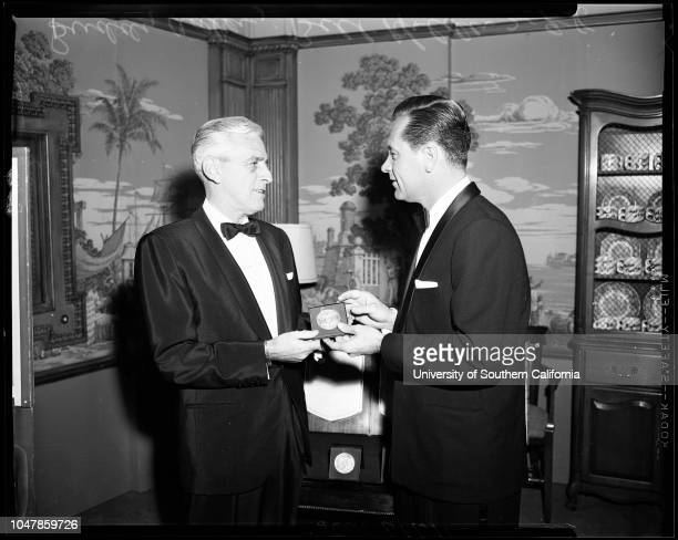 Photoplay Awards 9 February 1956 Buddy AdlerWilliam HoldenSupplementary material reads 'Caption for Photoplay awards Buddy Adler producer of 'Love Is...