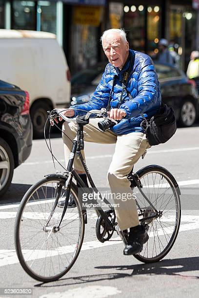 Photorapher Bill Cunningham is seen in Gramercy on April 23 2016 in New York City
