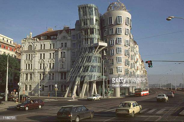 """Rasin Building, also known as """"Fred and Ginger,"""" by American architect Frank Gehry, in Prague May 14th 1998."""