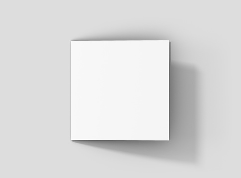 Photorealistic Square Bifold Brochure Mockup on light grey background. 627942994