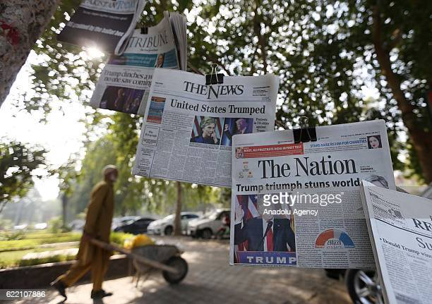 Photos and headlines related with Donald Trump's presidential win are seen in today's daily Pakistani newspapers in Islamabad Pakistan on November 10...