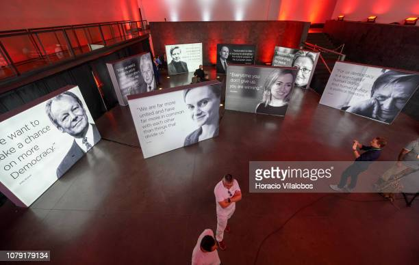 Photos and quotes of European Social Democrats leaders outside the auditorium at the Party of European Socialists PES Congress 2018 on December 07...