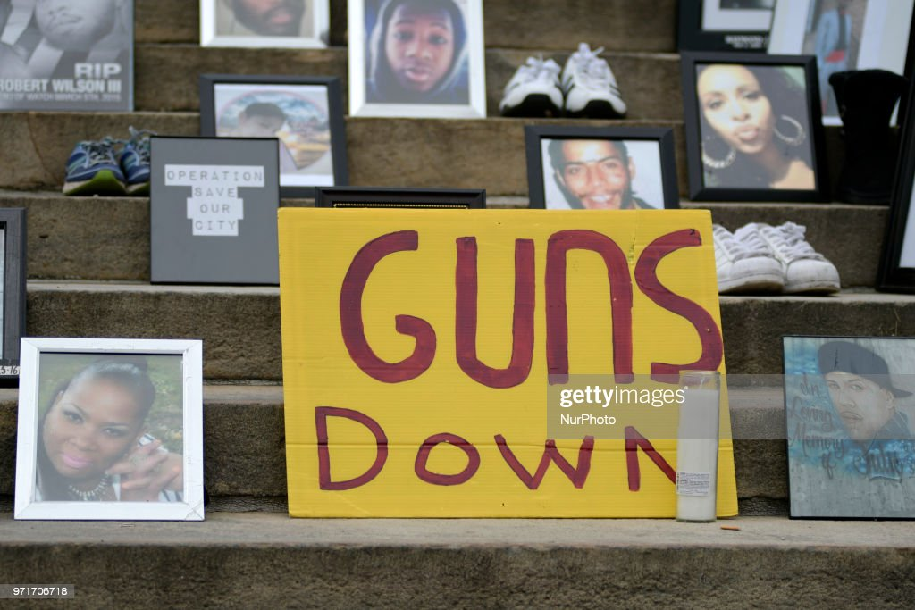 Photos and shoes of gun violence victims following the steps at a anti-gun rally on the Art Museum steps, in Philadelphia, PA, on June 11, 2018. The 3rd annual Fill the Steps Against Gun Violence gathering is to raise awareness on the deadly epidemic and is organized by columnist Helen Ubinas.