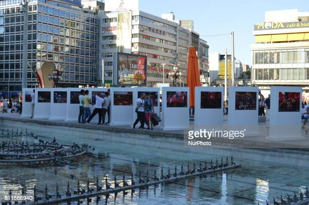 Photos are seen at a photography exhibition to the 1st anniversary of Turkey's failed coup attempt in Ankara Turkey on July 09 as the exhibition is...