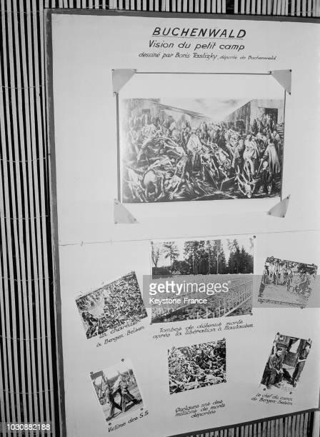 Photos du camp de concentration de Buchenwald dans l'exposition sur les camps de la mort nazis place de la République à Paris en 1947 en France