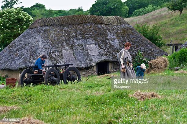 fotos aus der eisenzeit village, sagnlandet lejre, dänemark - steinzeit stock-fotos und bilder
