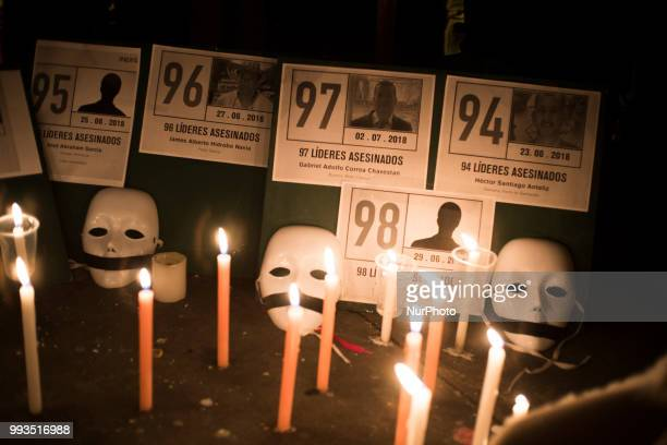 Photos of activists killed in a candlelight vigil in Colombia Bogota on July 6 2018