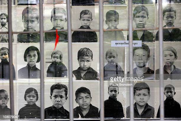 Photos of child victims on display at the Toul Sleng Genocide museum July 25 2010 in Phnom Penh province Cambodia The UN backed Khmer Rouge tribunal...