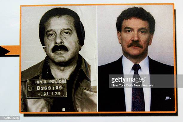 Photos of Colombo crime family capo Greg Scarpa Sr. And former FBI agent Lindley DeVecchio are displayed during a news conference held by Brooklyn...