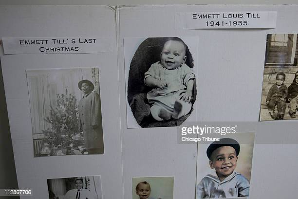 Photos of Emmett Till are displayed during an announcement that his casket is headed to the Smithsonian Institution in Washington DC