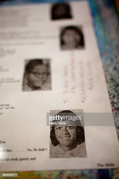 Photos of four girls killed in 1963 are displayed at the historic Sixteenth Street Baptist Church on November 2 2008 in Birmingham Alabama The four...