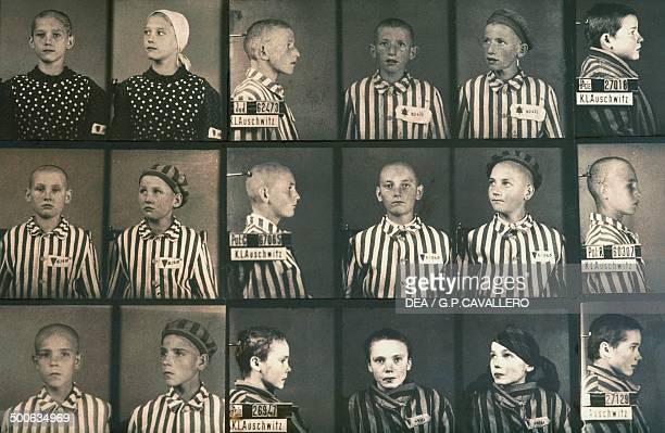 Photos of Jewish children in the Auschwitz concentration camp museum Poland
