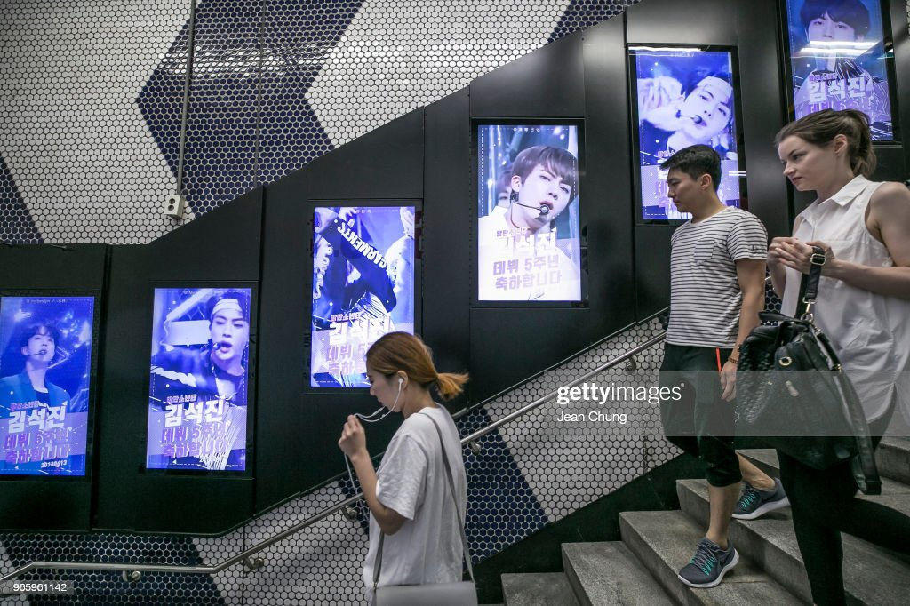 Photos of Jin from BTS are displayed at Gangnam Subway Station put ...