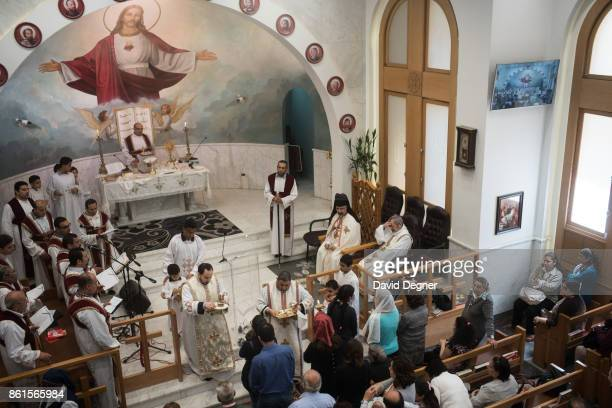 Photos of mass inside the Holy Family Orthodox Church in Zeitoun during Holy Week on April 13 2017 in Cairo Egypt