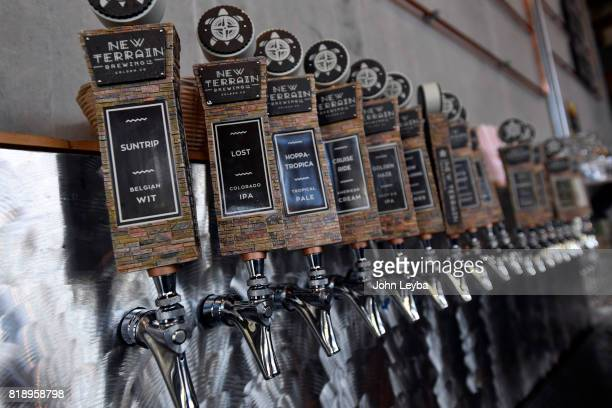 Photos of New Terrain Brewing on July 19 2017 in Golden Brewmaster Josh Robbins brews a Colorado IPA called Lost which is a middle ground between...