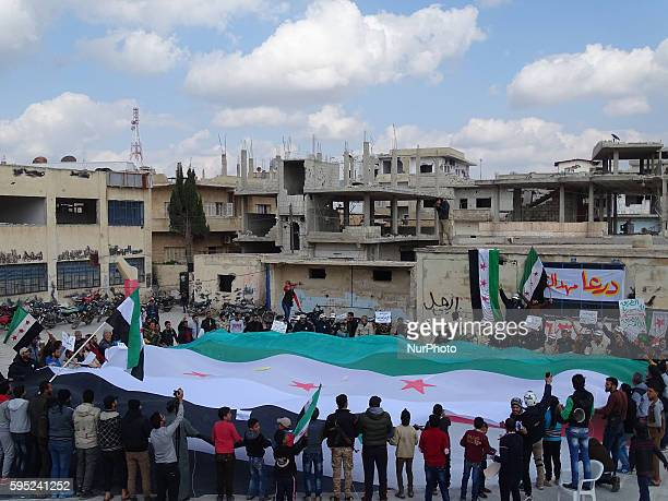 Photos of the demonstration, which came out today in the city of Daraa on the occasion Khmaxh years after the start of the Syrian revolution from the...