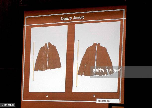 Photos of the jacket worn by actress Lana Clarkson on the day she died are shown during the trial of music producer Phil Spector June 11, 2007 in Los...