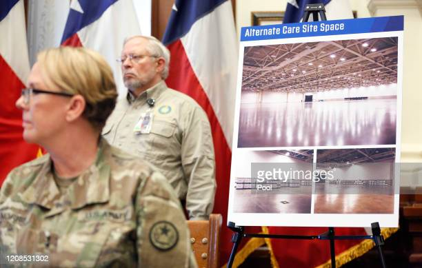 Photos of the Kay Bailey Hutchison Convention Center is pictured as Texas Governor Greg Abbott announced the US Army Corps of Engineers and the state...