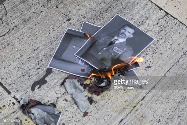 SQUARE BARCELONA CATALONIA SPAIN Photos of the King of Spain burned during demonstration defending freedom of speech and support for a rap singer...