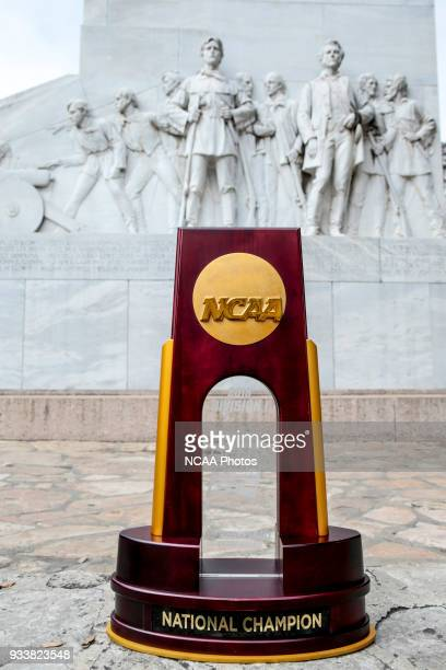 Photos of the NCAA Men's Final Four National Championship trophy in San Antonio TX