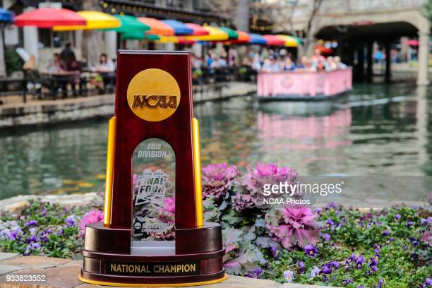 Photos of the NCAA Photos via Getty Images Men's Final Four National Championship trophy in San Antonio TX