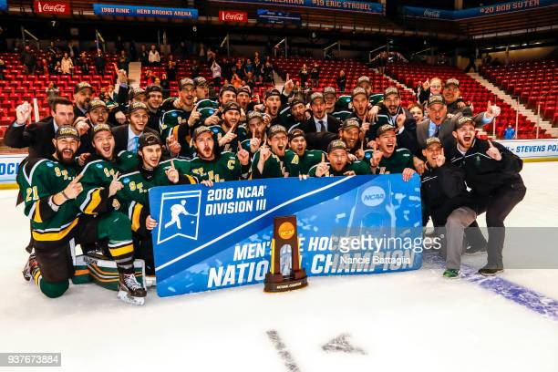 Photos via Getty Imagess via Getty Images action as St Norbert College plays Salve Regina University in the Division lll Men's Ice Hockey...