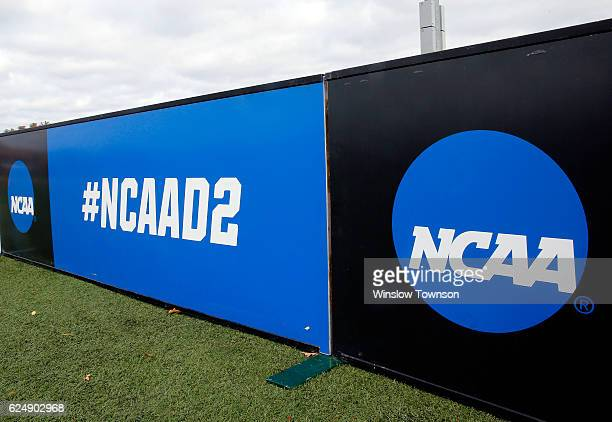 NCAA signs are seen before the game between Shippensburg University and LIU Post in the NCAA Division II Field Hockey Championship at WB Mason...