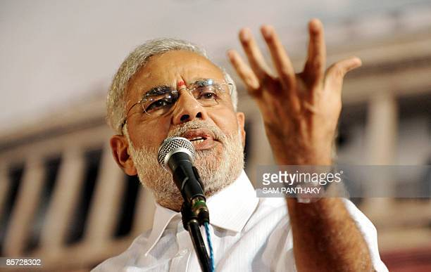 Chief Minister of the western state of Gujarat Narendra Modi addresses Bhartiya Janta Party workers in Ahmedabad late on March 30 2009 Modi earlier...