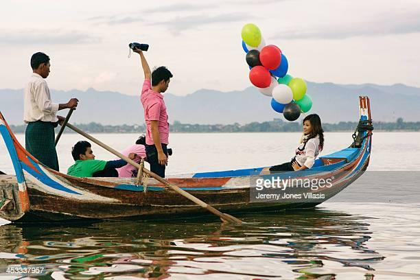 Photoshoot at Taungthaman Lake in Amarapura near Mandalay, Myanmar.