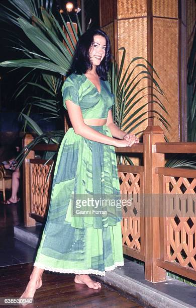 A photoshoot of Ines Sainz Miss Spain 1997 11th June 1997 Mahe Island in the Islands of Seychelles