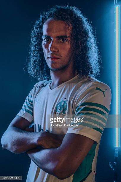 Photoshoot of Mattéo Guendouzi after signing the contract with Olympique de Marseille at Centre Robert-Louis Dreyfus on July 05, 2021 in Marseille,...