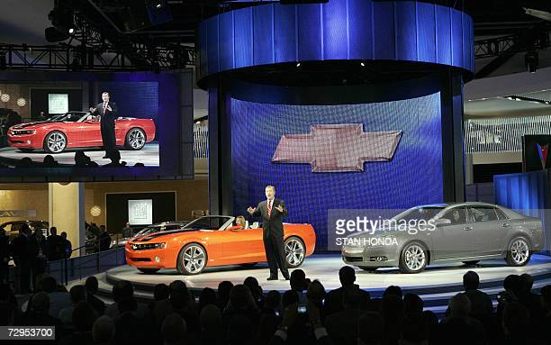 Troy Clarke President of General Motors North America introduces the Chevrolet Camaro convertible concept car and the 2008 Chevrolet Malibu 09...