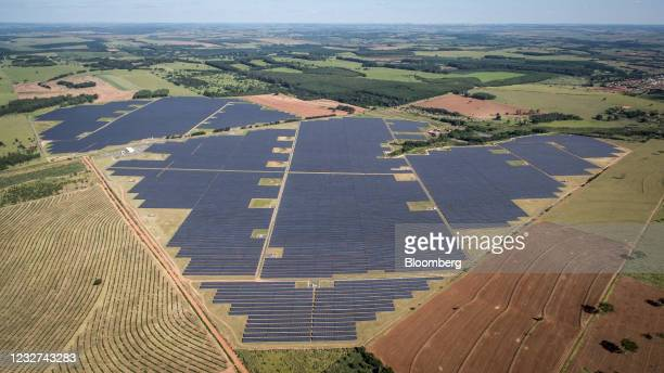 Photovoltaic modules on an AES Tiete SA solar farm in Guaimbe, Sao Paulo state, Brazil, on Thursday, April 29, 2021. New wind and solar additions...