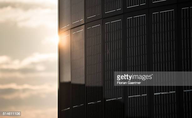 A photovoltaics pylon captured during sunset on March 08 2016 in Berlin Germany