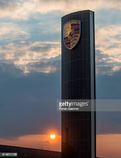 A photovoltaics pylon of Porsche captured during sunset on March 08 2016 in Berlin Germany