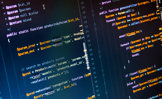 Php code on blue background in code editor 930129742