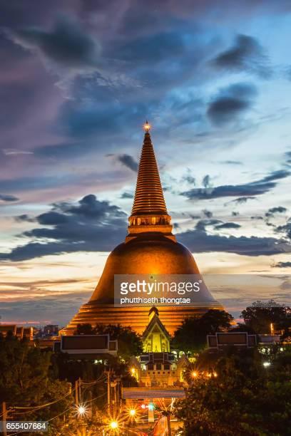 Phra Pathom Chedi Pagoda at sunset, Thailand.