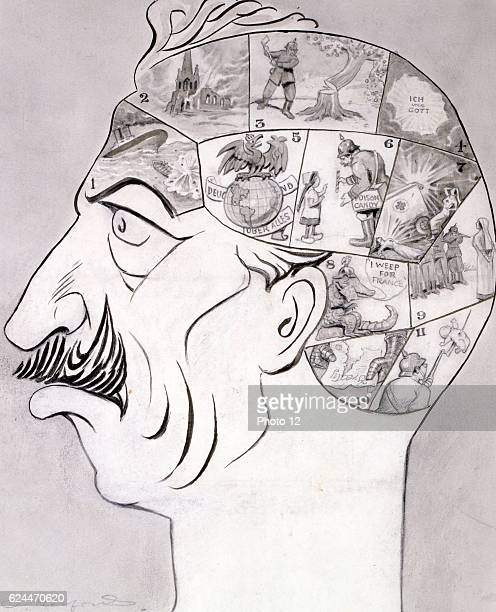 Phrenological chart By Oliver Herford 18631935 artist 1917 Drawing in ink brush ink wash and pencil World War I cartoon drawing of a phrenological...